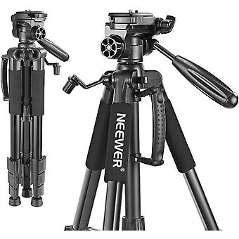 HanFei tragbare 142 Zentimeter Aluminium-Legierung Kamera Stativ mit 3-Wege-Schwenk Kopf, Tragetasche