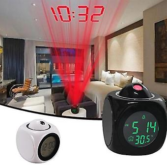 Projection Digital Weather Snooze Clock Bell Alarm Display Backlight LED Projector Home Creative Attention Alarm Clock Timer