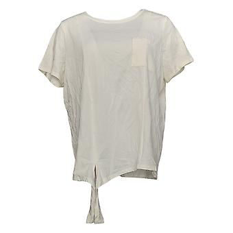 Anybody Women's Top Cozy Knit Side Tie T-Shirt w/ Pocket Ivory A353777