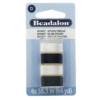 "Nymo Nylon Bead Thread Variety Pack, Size D / 0.30mm / .012"", Four 64-Yard Spools, Black & White"