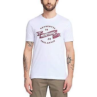 MUSTANG Alex C Print T-Shirt, White (General White 2045), Small Man(1)