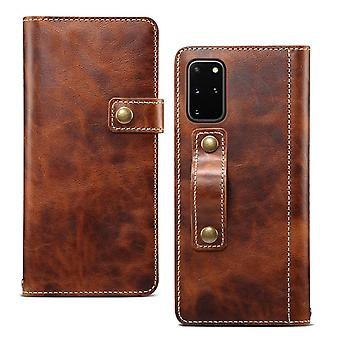Äkta läder plånbok kort kortplats för iphonexs max6.5 brun no2095