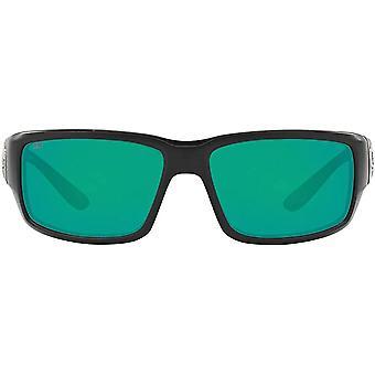 Costa Del Mar Mens Fantail 580P Polarized Rectangular Sunglasses - Matte Black/Copper Green Mirrored - 59 mm
