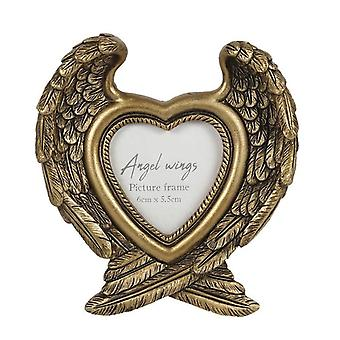 Antique Gold Angel Wings Photo Frame