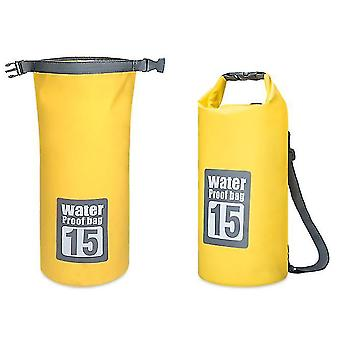 15L yellow dry compression sack keeps gear dry for kayakingbeachraftingboatinghiking x3045