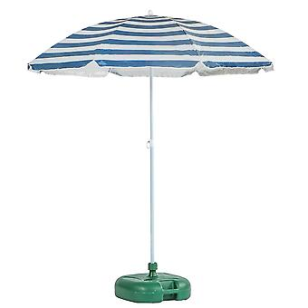Metal Beach Parasol &Base Set Umbrella UPF50+ 1.74 x 1.93m Blue Stripe/Green