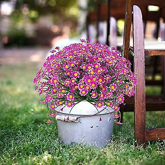4pcs Artificial Daisy Flowers Artificial Flowers Green Plastic Shrubs Fake Flowers Indoor Outdoor