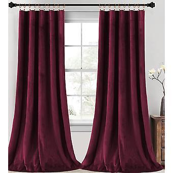 2X sammetsgardiner super mjukt heminredningsrum mörka gardiner för vardagsrum, termisk isolerade sammet draperier för sovrum, vinröd
