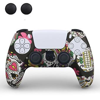 TECTINTER csúszásmentes fedél / Bőr PlayStation 5 kontroller joystick sapkákkal - Gumi markolat fedél PS5 - Koponyák