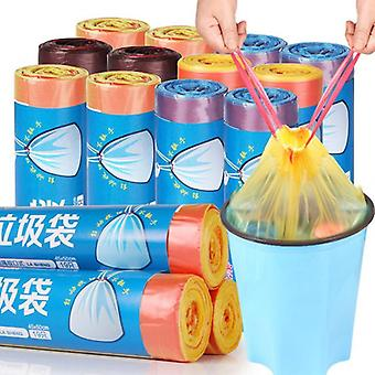 19Pcs/roll household thicken refuse bag portable draw string bags plastic rubbish bags office home hotel waste cleaning tool