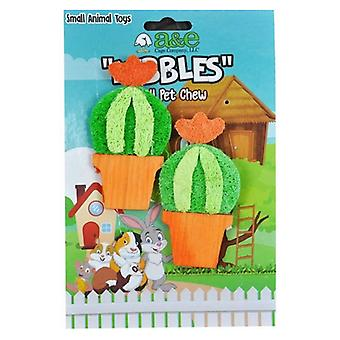 AE Cage Company Nibbles Barrel Cactus Loofah Chew Toy with Wood - 2 count