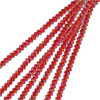 Crystal Beads, Faceted Rondelle 1.5x2.5mm, 2 Strands, Transparent Red AB
