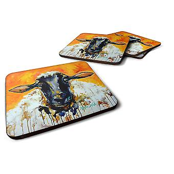 Coasters carolines treasures mw1343fc set of 4 peach wool sheep foam coasters set of 4