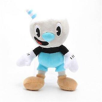 Bobblehead figures blue cuphead game cuphead mugman mecup brocup plush toy