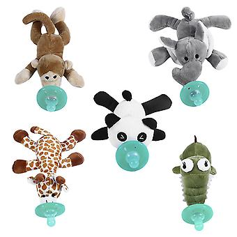 Cute Funny Newborn Baby Silicone Animal Pacifier With Plush Toy Soother