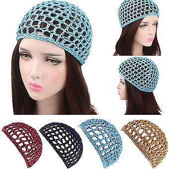 Malha feminina Cabelo Líquido De Crochê Tampa Sólida Snood Sleeping Night Cover Turban Hat Popular Casual Beanie Chemo Hats