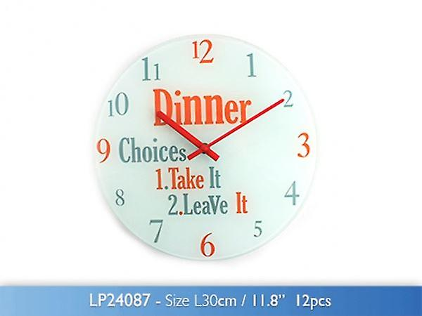 Dinner Choices Wall Clock Glass 30cm For Home Kitchen Living Dinning Room