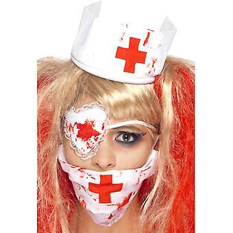 Set Blutige Krankenschwester mit Maske Kopfteil und Augenklappe Bluteffekt