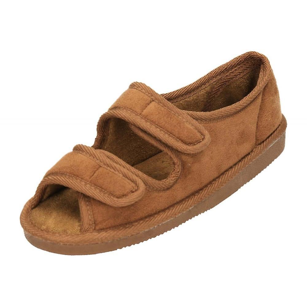 Jwf Camel Unisex Wide Fit Open Toe Velcro Slippers Shoe