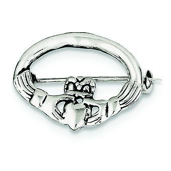 925 Sterling Gümüş Dokulu geri İrlandalı Claddagh Celtic Trinity Knot Pin Takı Hediyeler Kadınlar için