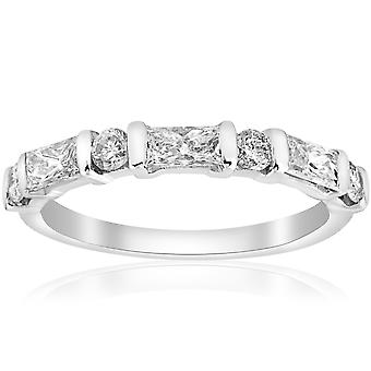 White Gold 1/2ct Round & Baguette VS Diamond Ring