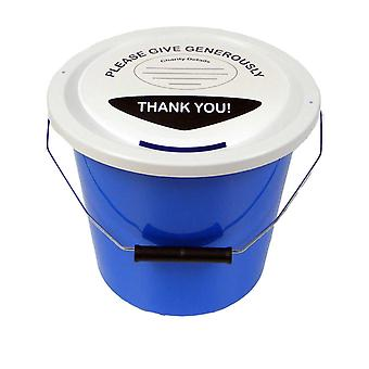 6 Charity Money Collection Buckets 5 Litres - Light Blue