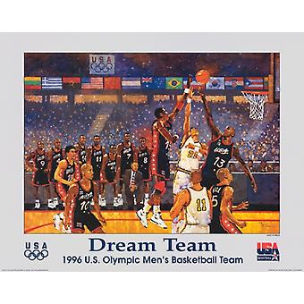Dream Team 1996 US Olympic Mens Basketball Team Poster Print by Bart Forbes (28 x 22)
