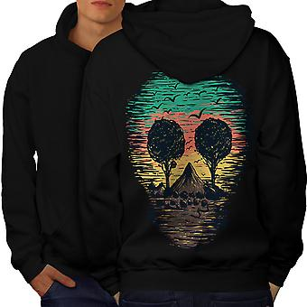 Nature Tree Birds Skull Men BlackHoodie Back | Wellcoda