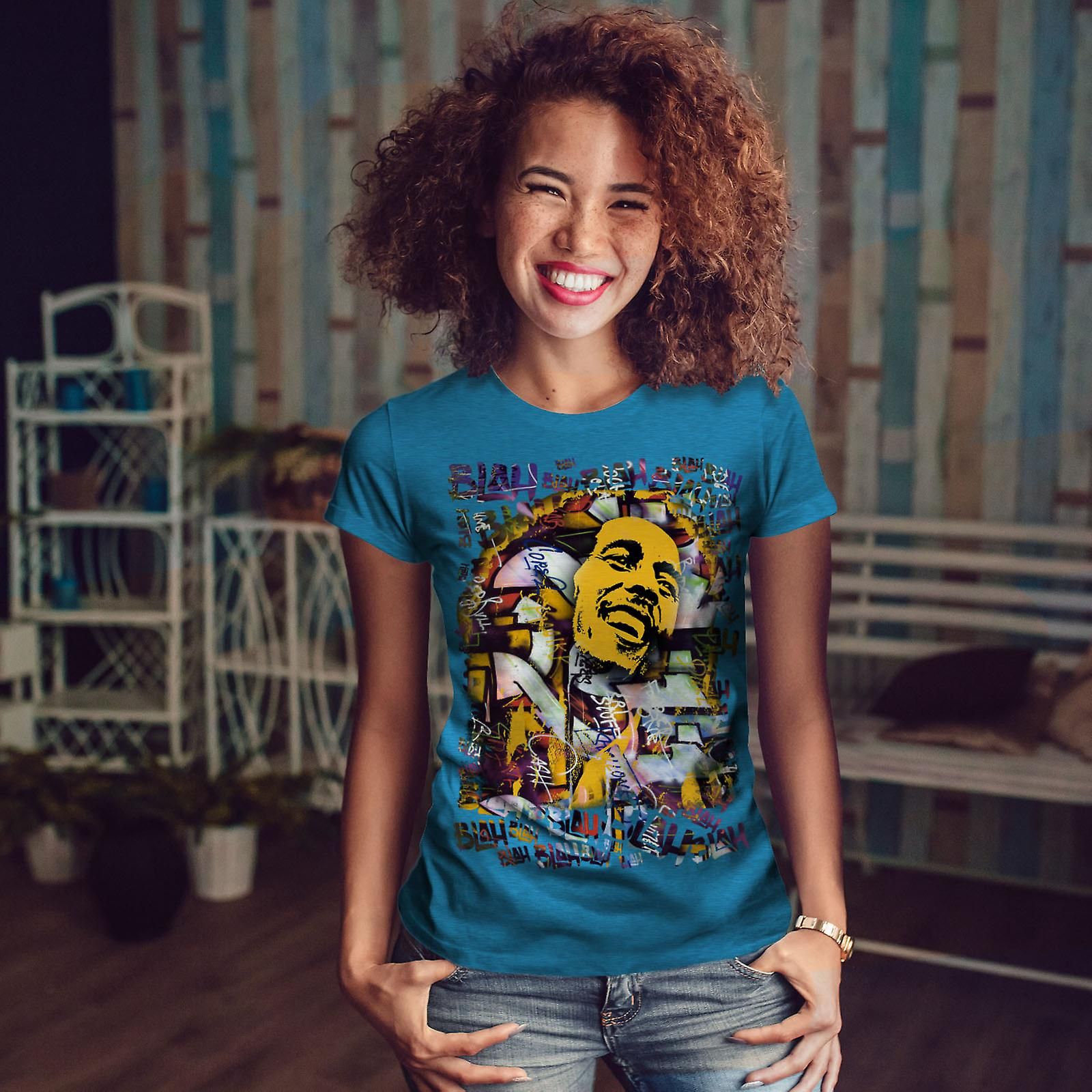 Bob Marley Graffiti BlueT-shirt Royal femme | Wellcoda
