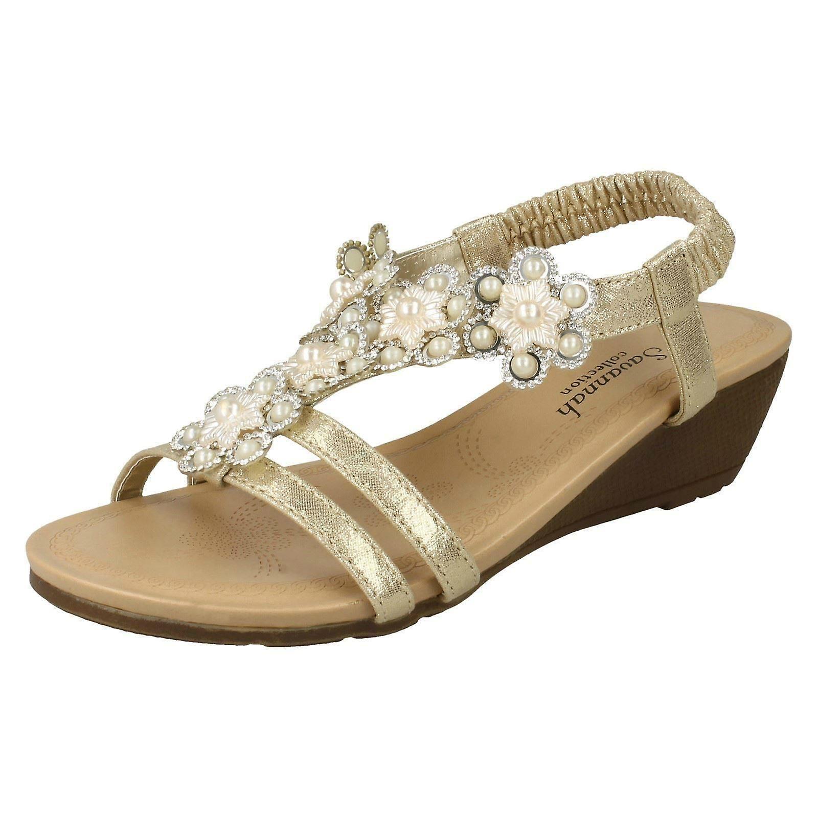 Ladies Savannah Mid Wedge Slingback Sandals F10788 HJksw