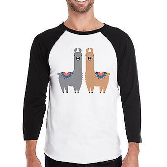 Llama Pattern Mens Raglan Shirt