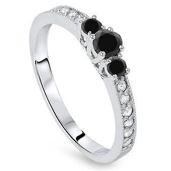 1 / 2ct svart & vit diamant 3 sten Ring 14K vitt guld