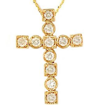 14K المقطعية 1.06 الذهب الأصفر الماس الدينية عبر قلادة