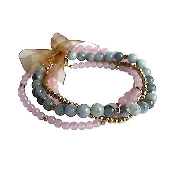 Bracelet set four bracelets bracelet set aquamarine Rose Quartz pyrite gold plated
