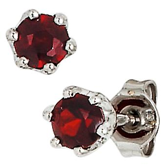 Garnet Earrings 925 sterling silver rhodium plated 2 grenade red earrings silver