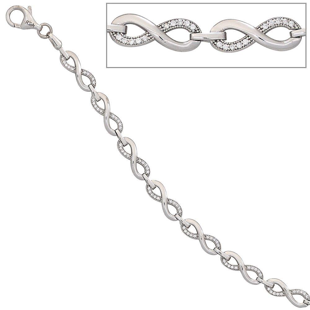 silber Armband Unendlichkeit 925 Sterling Silber Zirkonia 19 cm Silberarmband