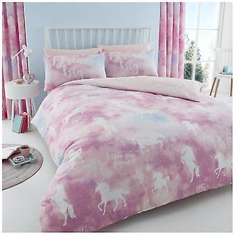 Unicórnio siga seu sonho edredom colcha tampa Polycotton fronha conjunto de roupa de cama