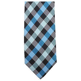 Knightsbridge Neckwear luksus sjekket uavgjort - lys blå/sort