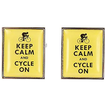 Zennor Keep Calm and Cycle On Cufflinks - Yellow