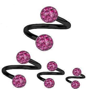 Torsione a spirale Piercing titanio nero 1,6 mm, Multi sfera di cristallo rosa | 8 - 12 mm