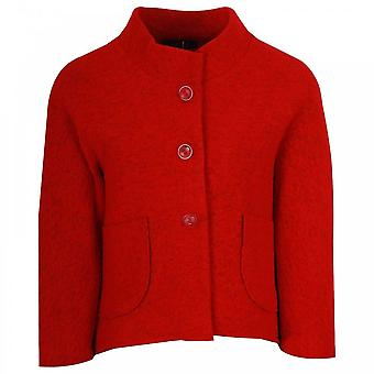 Latte lange mouw bijgesneden rode wol jas