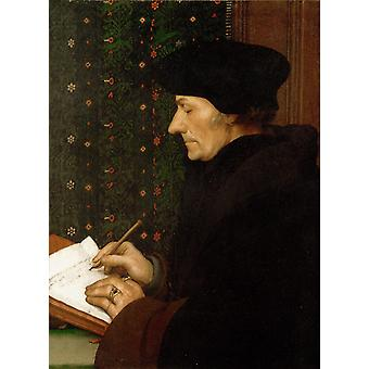 Erasme ecrivant,Hans Holbein,50x40cm