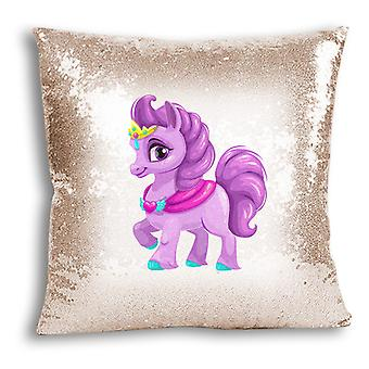 i-Tronixs - Unicorn Printed Design Champagne Sequin Cushion / Pillow Cover for Home Decor - 18