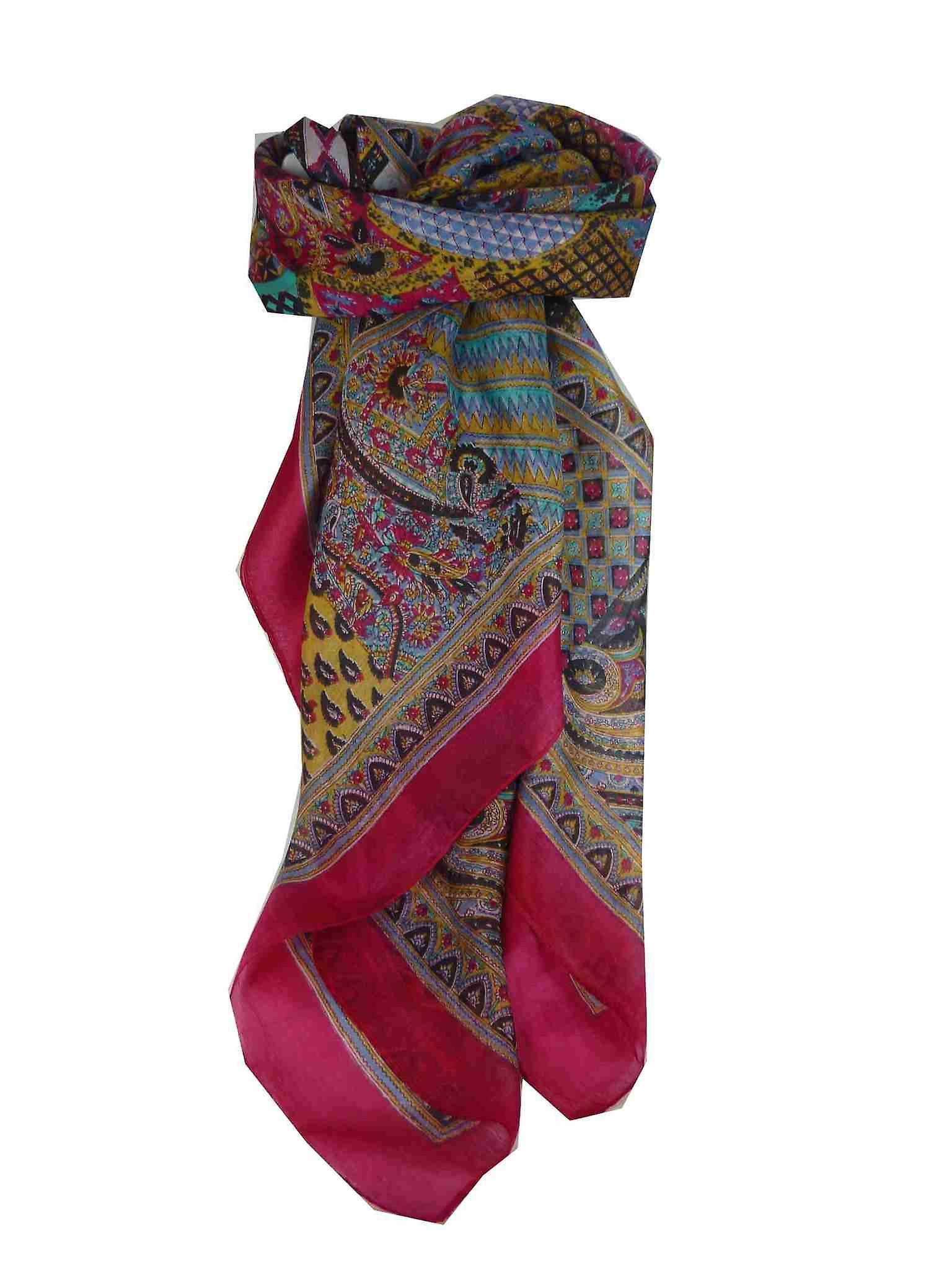 Mulberry Silk Traditional Square Scarf Ajanta Pink by Pashmina & Silk