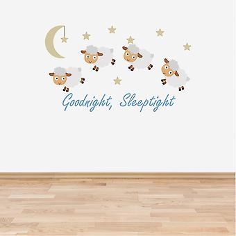 Full Colour Counting Sheep Blue Nursery Wall Sticker
