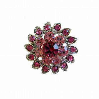 Light & Dark Rose Pink Crystal Flower Silver Casting Fashion Brooch