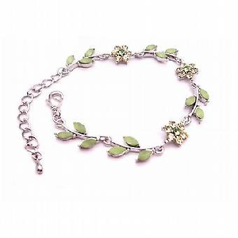Arrival Peridot Green Enamel Flower & Leaves Silver Metal Bracelet