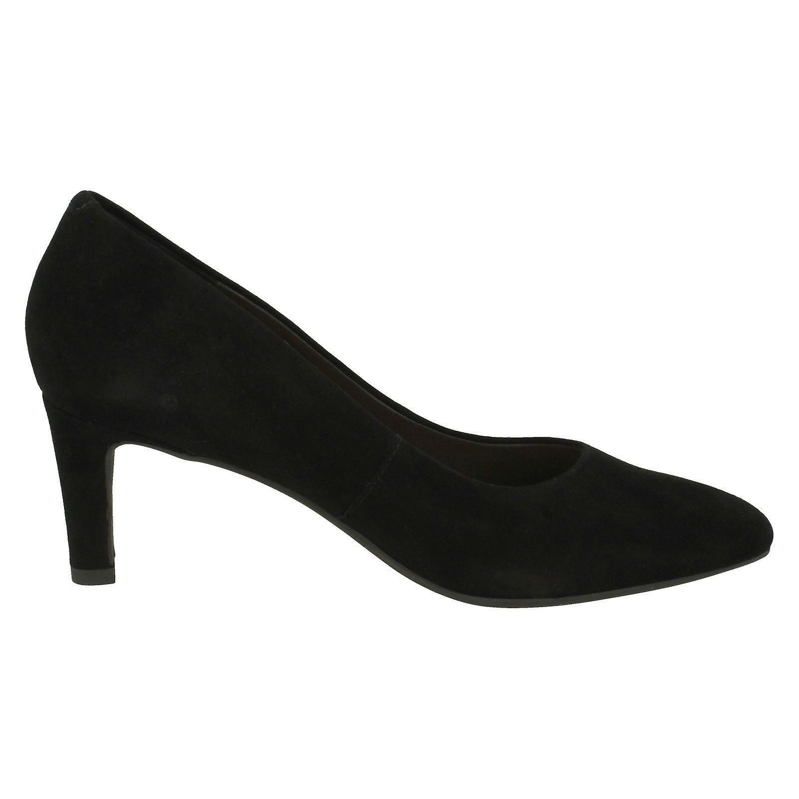 Damer Clarks tekstureret Domstolen sko Calla Rose - sort ruskind - UK størrelse 7,5 D - EU størrelse 41,5 - US størrelse 10M