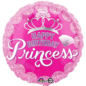 Anagram 18 Inch Princess Crown & Gem Birthday Circle Foil Balloon