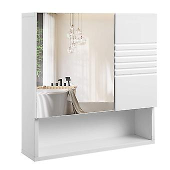 Hanging cabinet with mirror door and open compartment